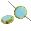 Fire polished 10mm Flat Cut Round Turquoise Marble Edge
